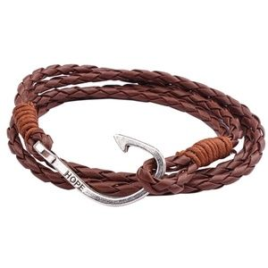 Jewelry - Nautical Anchor Hook Brown Leather Wrap Bracelet